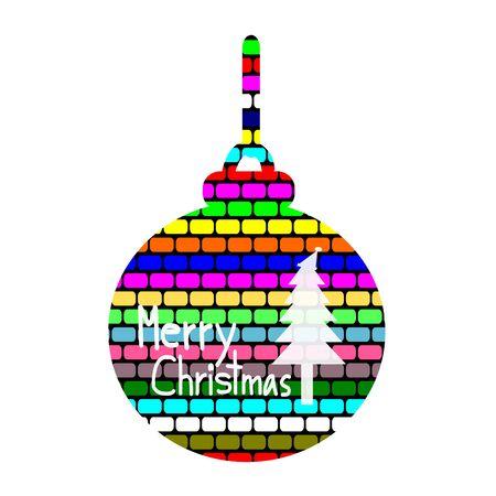 christmas tree illustration: Merry Christmas, Christmas Greeting Card, Silhouette Colorful christmas ball and Christmas tree illustration