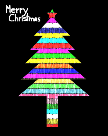 christmas tree illustration: Merry Christmas, Christmas Greeting Card, Silhouette Colorful Christmas tree illustration, color paper style Stock Photo