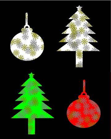 christmas tree illustration: Silhouette christmas tree and christmas ball illustration Stock Photo