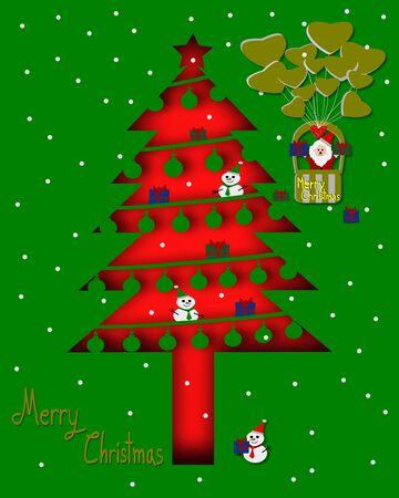 christmas tree illustration: Silhouette christmas tree and Santa Claus in balloon illustration