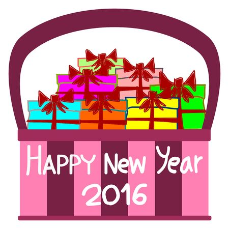 gift basket: Greeting Card Design, Happy New Year 2016, Happy New Year Card, Gift in Basket, vector Illustration
