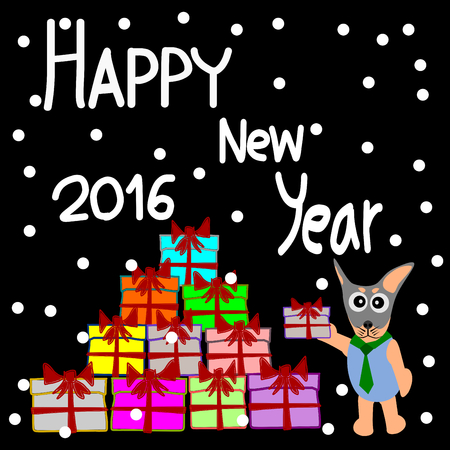 dog gift: Greeting Card Design, Happy New Year 2016, Happy New Year Card, Dog and Gift vector