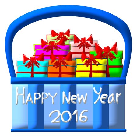 gift basket: Greeting Card Design, Happy New Year 2016, Happy New Year Card, Gift in Basket, illustration
