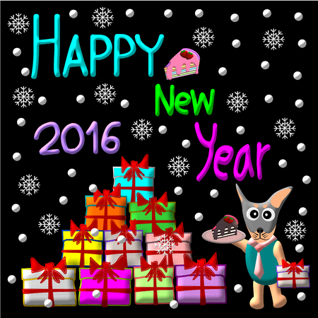 dog gift: Greeting Card Design, Happy New Year 2016, Happy New Year Card, Dog Cake and Gift illustration