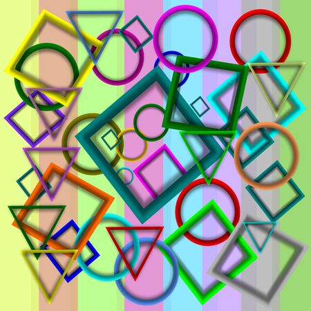 colorful frame: colorful frame, triangle, circle, background Illustration Stock Photo
