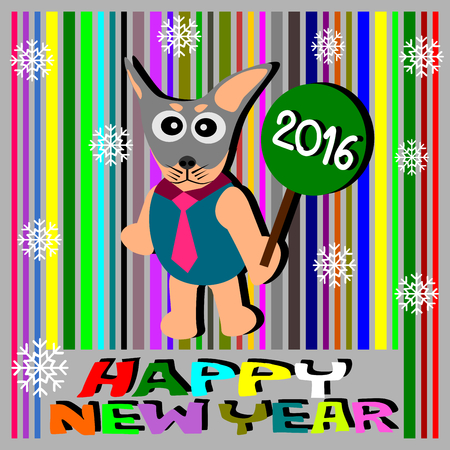 year of the dog: Dog Greeting Card Design, Happy New Year 2016, Happy New Year Card vector