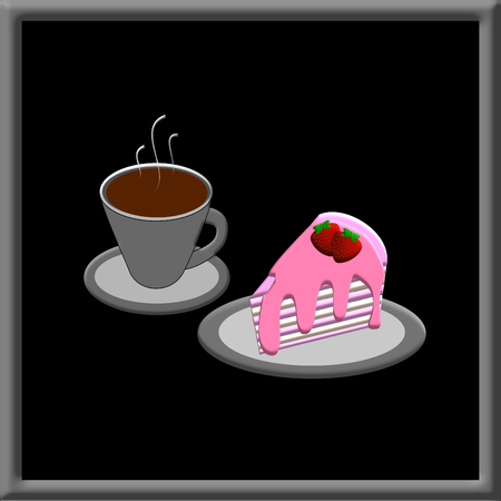 hot frame: Hot Coffee and Strawberry cake in picture frame, illustration