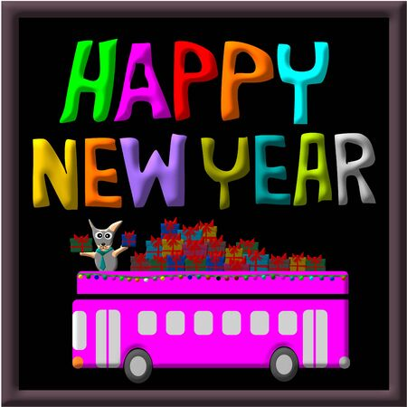 year of the dog: Greeting Card Design, Happy New Year Dog and gift on car bus, Happy New Year Card, illustration