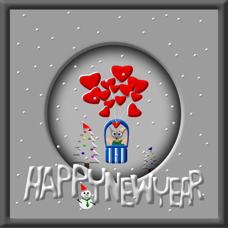 year of the dog: Greeting Card Design, Happy New Year, Happy New Year Card, Dog in balloon, Snowman and christmas tree illustration Stock Photo