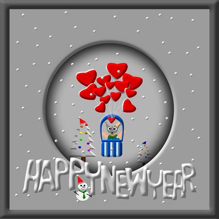 puppy dog: Greeting Card Design, Happy New Year, Happy New Year Card, Dog in balloon, Snowman and christmas tree illustration Stock Photo