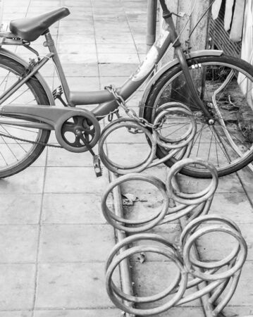 locked: Bike locked, bicycle monochrome