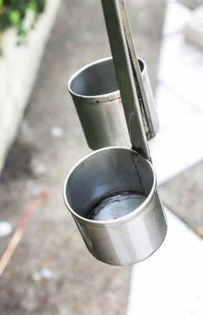 dipper: water dipper, metallic ladle, dipper stainless Stock Photo