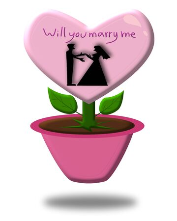 will you marry me: Will you marry me, Silhouette Couple love in heart plant illustration