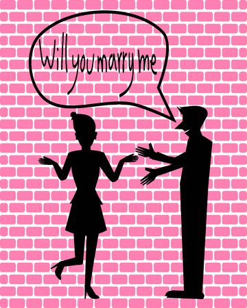 will you marry me: Silhouette Couple love, Will you marry me illustration