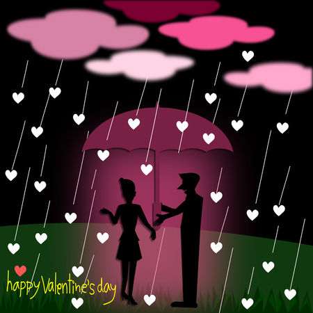 love in rain: Silhouette couple love with umbrella standing under the rain at night, illustration Stock Photo
