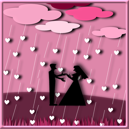 under heart: Silhouette couple love standing under the rain heart, illustration Stock Photo