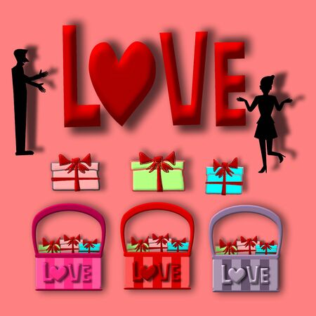 gift basket: Love card, Silhouette man and woman with gift basket, illustration