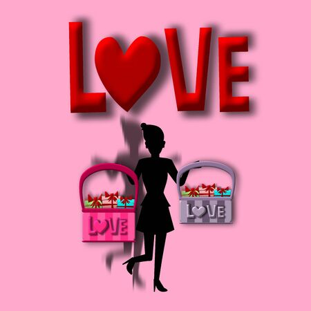 gift basket: Love card, Silhouette woman with gift basket, illustration