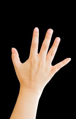 partes del cuerpo humano: Mano de la mujer, la mano derecha aislado en el fondo negro