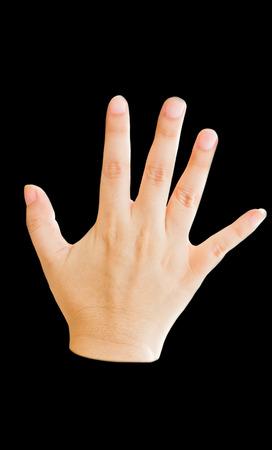 Femme main, main droite isolé sur fond noir