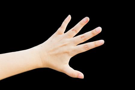 left hand: Left hand isolated on black background