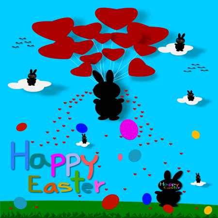 paper cut: Easter Bunny and Easter eggs, paper cut style Stock Photo