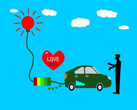 Love Eco car, Solar energy car illustration Stock Photo