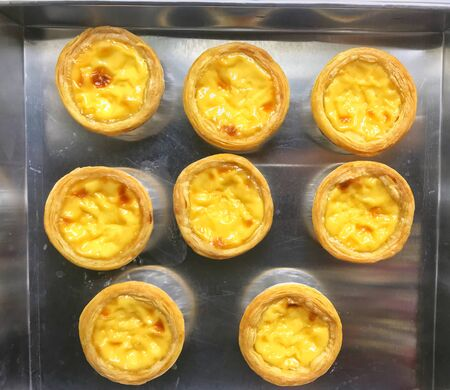 Egg tart in a tray