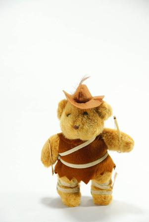 childen: robinhood bear doll on white scene