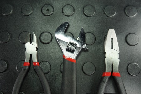 many type of tools on black and color scene,shallow focus Stock Photo