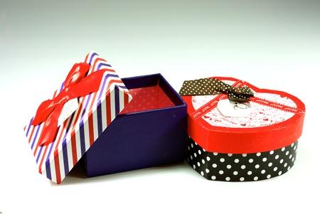 cerebrate: colorful gift box on white scene,shallow focus Stock Photo