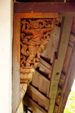 corbel: detail of  traditional thai wooded corbel,Lampang temple,Thailand