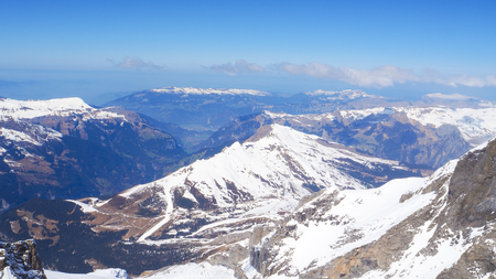 Panoramic landscape snow mountain of Jungfrau