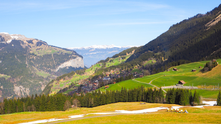 Panoramic Landscape view of Jungfrau with snow and mountain