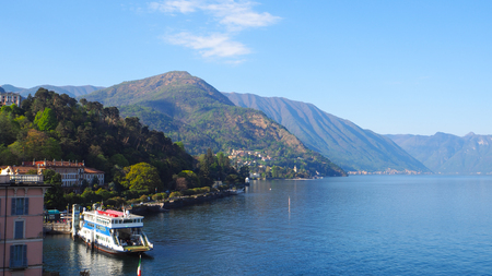 Ferry at the port Lake Como Bellagio Imagens - 78222420