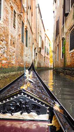 Gondola at canal in venice Stock Photo