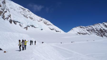 monch: Snow walking track at Jungfrau Stock Photo