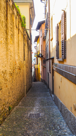 Narrow walking path in Bellagio town Imagens