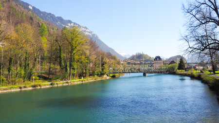 River run through Interlaken town Imagens
