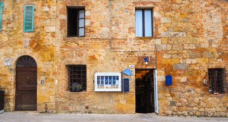 european: Door Window and Wall in Monteriggioni, Italy Editorial