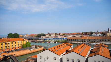 Venice grand canal and train station from blue sky background