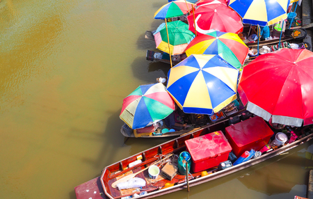 Colorful Umbrella of the food boat at Ampawa