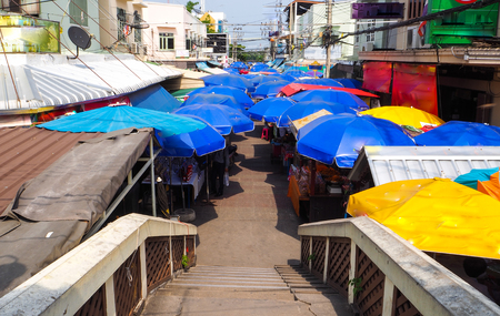 Umbrella was used along the shopping street Ampawa