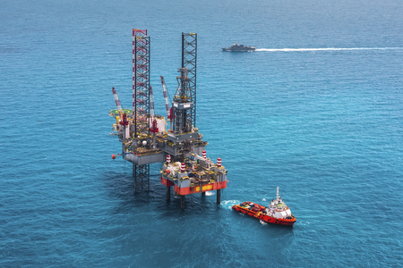 mining ships: Offshore oil rig drilling platform in the gulf of Thailand 2015.