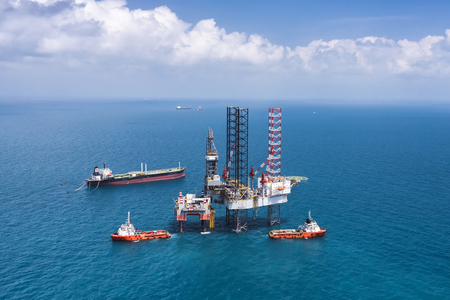 Offshore oil rig drilling platform in the gulf of Thailand 2015.