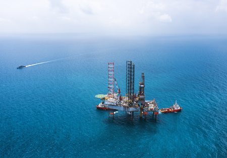 mining ship: Offshore oil rig drilling platform in the gulf of Thailand