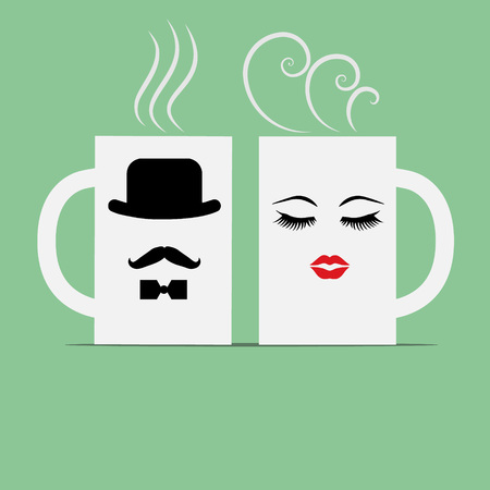 hot couple: Love coffee cup, vector, icon