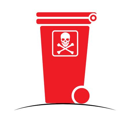 dangerous: Red dangerous bin, icon, vector