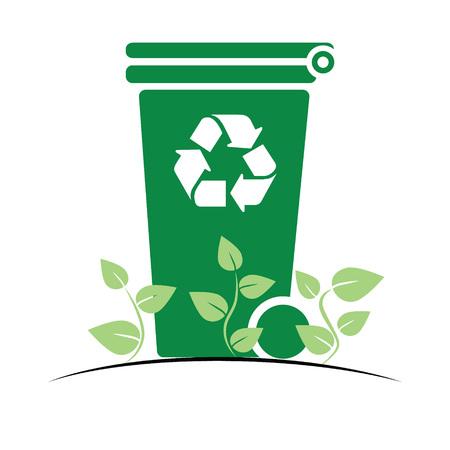Green recycle bin, vector, icon