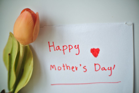 Happy mothers day. I love you mom. Thank you mom. with artificial flowers